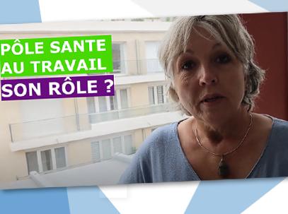 """Montage image de Christine FUron Médecin au CDG 59 avec la Mention """" Pôle santé au travail - Son rôle?"""""""