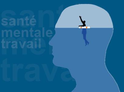 Silouette d'une tête où dans la aprtie supérieure de la tête se trouve un petite personnage s'accrochant à sa bouée