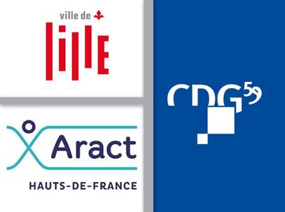 Ensemble des 3 logos de la Maire de Lille, de l'ARACT Haut de France et du Cdg59