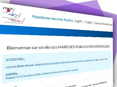 montage image de la page d'accuil de la plateforme de marchés publics du cdg 59 cdg 62 et de Somme Numérique