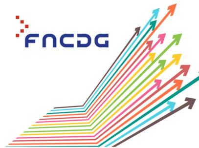 Logo du FNCDG avdec un ensemble de flèches de multiples couleurs s'éparpillant vers la droite