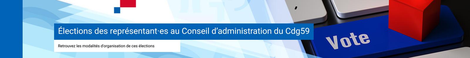 Bannière représentant un bouton de vote pour les élections du cConseil d'administration du Cdg59