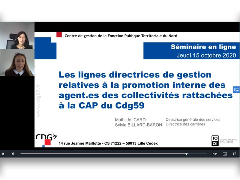 Cature d'écran du webinaire représetant les interveants Mme Icard et Mme Baron et leur document de présentation sur els lignes directrices de gestion relatives à la promotion interne